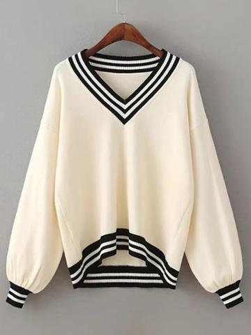 Shein Striped Trim High Low Sweater
