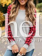 Shein Grey Contrast Raglan Sleeve T-shirt
