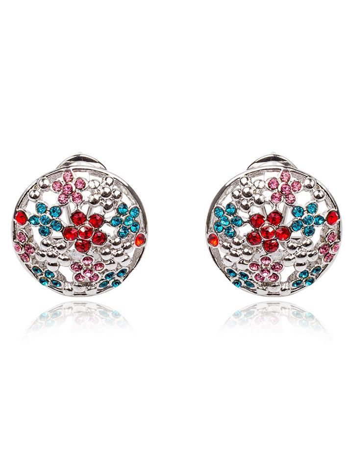 Shein Crystals Flower Stud Earrings