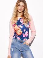 Shein Contrast Raglan Sleeve Floral Print Sweatshirt