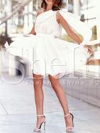 Shein White One Shoulder Pleated Dress
