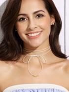 Shein White Bow Fine Wrap Choker Necklace