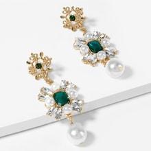 Shein Faux Pearl & Gemstone Flower Drop Earrings