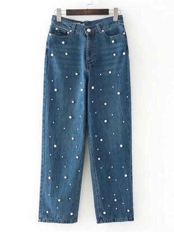 Shein Pearls Embellished Straight Jeans