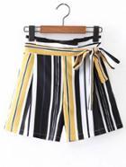 Shein Bow Tie Waist Vertical Striped Shorts