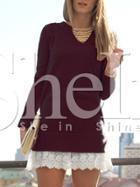 Shein Burgundy Contrast Lace Hem Dress