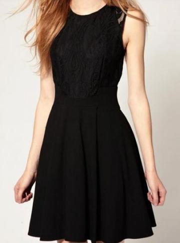 Shein Black Sleeveless Lace Bandeau Ruffles Dress