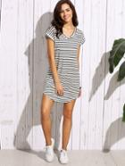 Shein Black White Striped Drop Shoulder Tshirt Dress