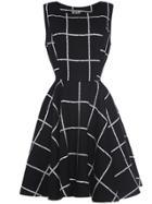 Shein Black Crew Neck Plaid A-line Dress