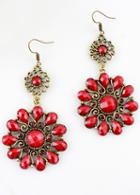 Shein Red Gemstone Dangle Earrings