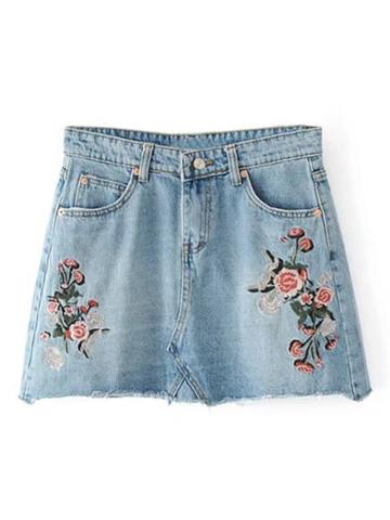 Shein Raw Hem Embroidery Denim Skirt