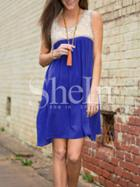 Shein Blue Sleeveless Pockets Colorblock Casual Dress