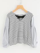 Shein Contrast Striped Criss Cross Front Tee