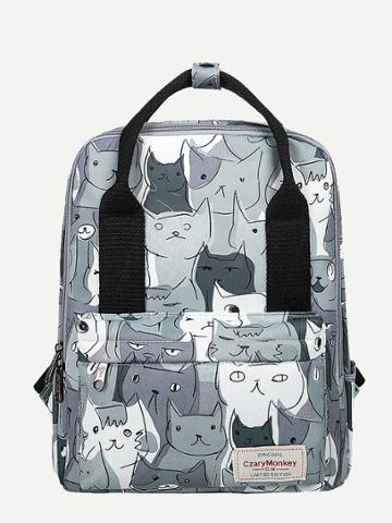 Shein Cat Print Backpack