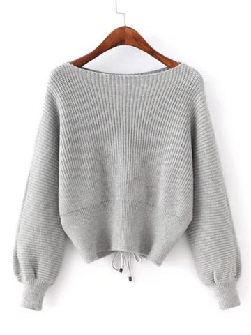 Shein Lace Up Back Boat Neck Sweater