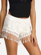 Shein Crochet Tassel Trimmed Shorts