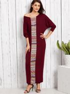 Shein Tribal Print Dolman Sleeve Kaftan Dress