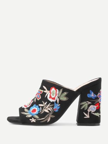 Shein Flower Embroidery Heeled Mules