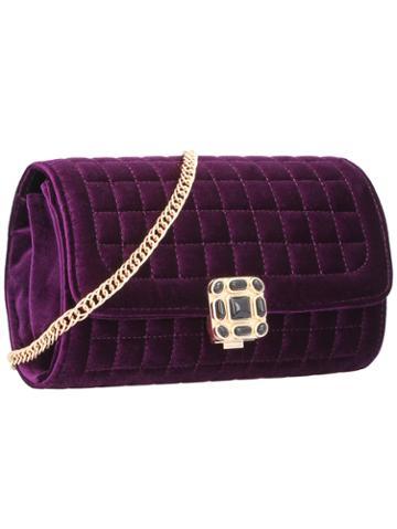 Shein Purple Plaid Jewelled Chain Satchels