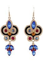 Shein Blue Gemstone Gold Geometric Dangle Earrings