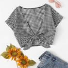 Shein Knot Front Plaid Blouse
