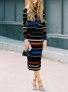 Shein Striped Mock Neck Midi Dress