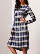Shein Plaid Crew Neck Shift Dress