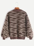 Shein Contrast Ribbed Trim Lantern Sleeve Striped Sweater