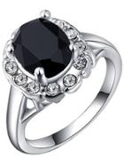 Shein White Gold Plated Platinum Colorful Diamond Ring