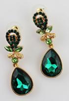 Shein Green Gemstone Gold Drop Earrings