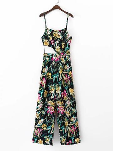Shein Floral Print Cut Out Waist Jumpsuit