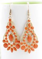 Shein Orange Gemstone Gold Hollow Drop Dangle Earrings