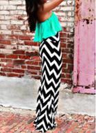 Rosewe Bohemian Chevron Print Strapless Maxi Dress