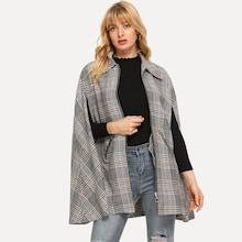 Shein Houndstooth Print Capes Coat
