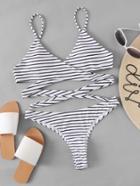 Shein Striped Print Wrap Bikini Set
