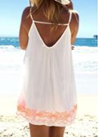 Rosewe Open Back Spaghetti Strap White Dress