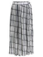 Shein Grid Print Pleated Chiffon Long Skirt