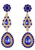 Shein Blue Drop Gemstone Gold Flower Earrings