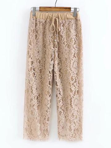Shein Drawstring Waist Lace Pants