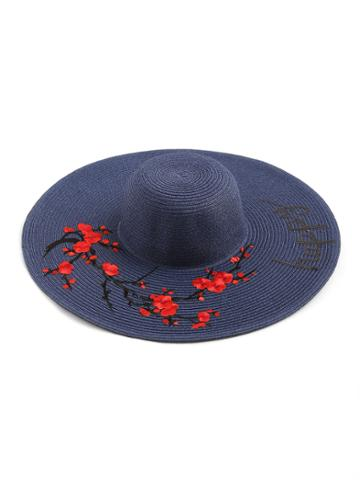 Shein Flower Embroidery Wide Brim Straw Beach Hat