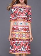 Shein Multicolor Vintage Jacquard Shift Dress