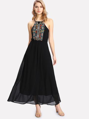 Shein Geometric Embroidered Chiffon Halter Dress