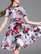 Shein Grey Crew Neck Floral A-line Dress