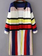 Shein Multicolor Striped Open Front Long Cardigan