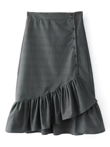 Shein Button Up Asymmetrical Plaid Flute Skirt