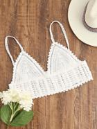 Shein White Crochet Crop Cami Top