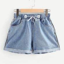 Shein Roll-up Hem Stripe Side Denim Shorts