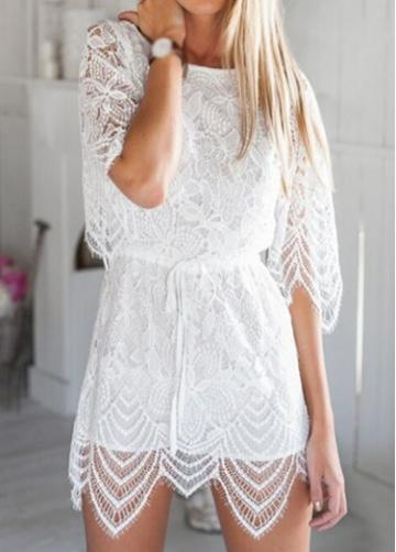 Rosewe Half Sleeve Hollow Back Lace Mini Rompers