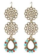 Shein Vintage Style Colored Beads Flower Shape Long Earrings