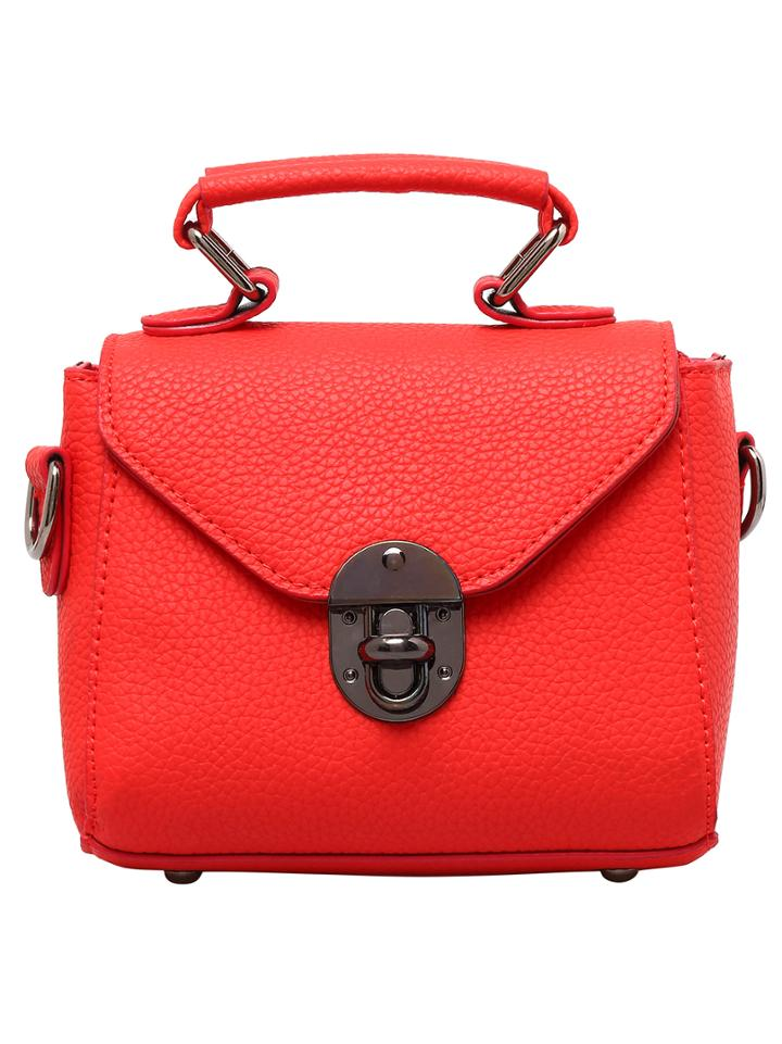 Shein Red Twist Lock Pu Shoulder Bag